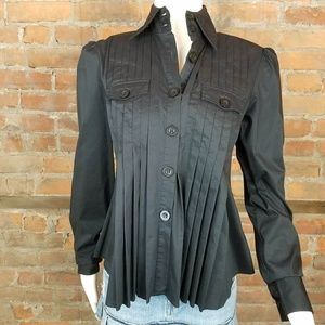 Bebe Womens Blouse Black Front & Back Pleats